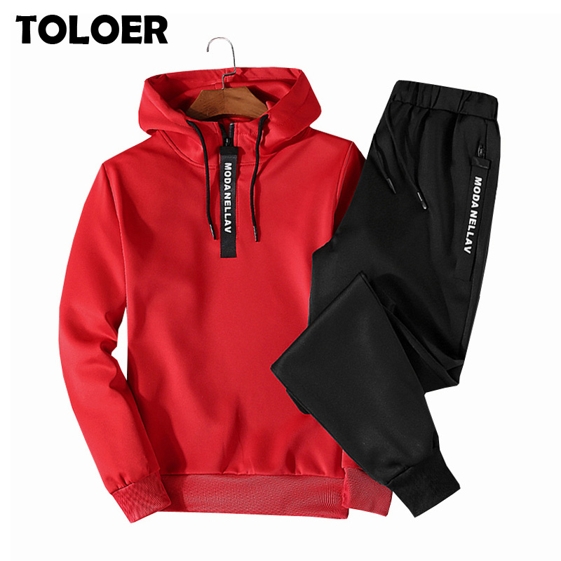 Hoodies Pants Tracksuits Sportswear Spring Casual-Set Hip-Hop Loose Autumn Hot Men Men's