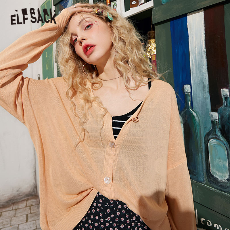 ELFSACK Multicolor Solid Single Breasted Knit Casual Women Cardigans 2020 Spring Pure Long Sleeve Korean Girly Basic Daily Top
