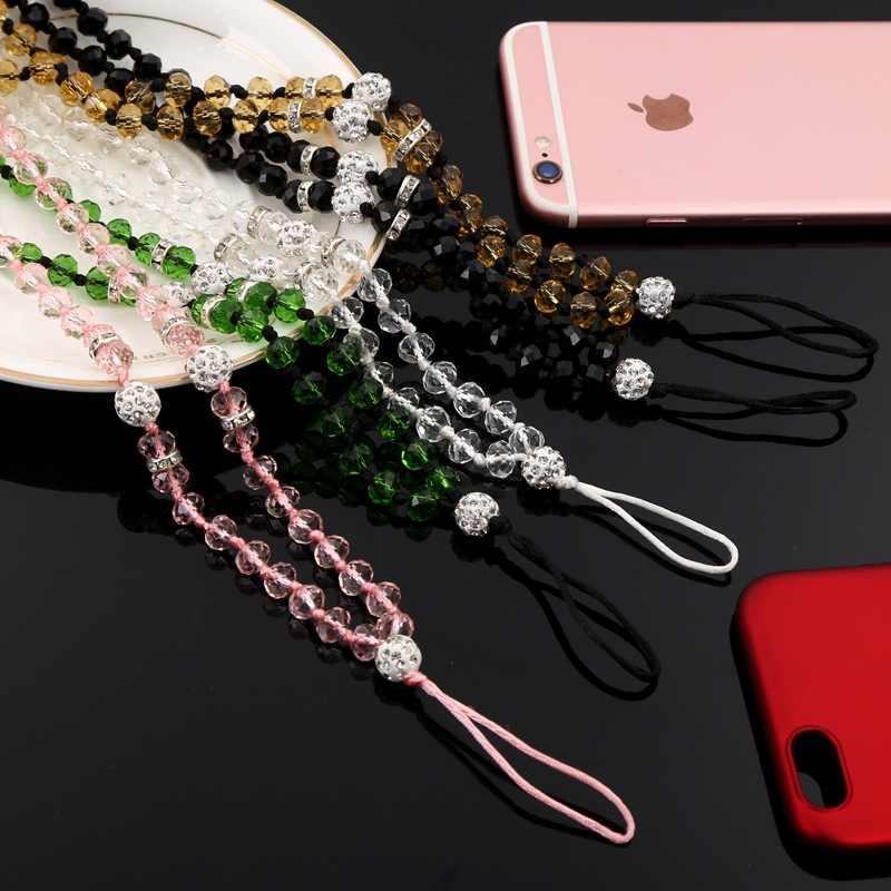 EGECD 人工クリスタルネックネックレスストラップストラップ U ディスク作業カード携帯携帯電話チェーンキー電話ハングロープ