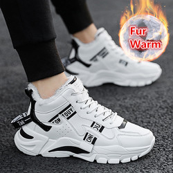 Winter Men Casual Shoes Mens Boots Warm Lining Fur Running Shoes Men Lace Up Sport shoes Ankle Boots Zapatillas Hombre Sneakers