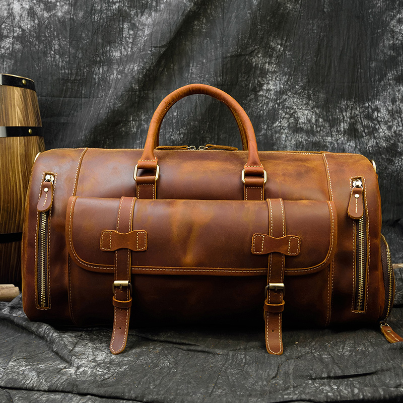 MAHEU Genuine Leather Men Travel Bags Shoe Pocket Hand Luggage Bag Large Capacity Outdoor Male Duffle Bags With Shoulder Strap
