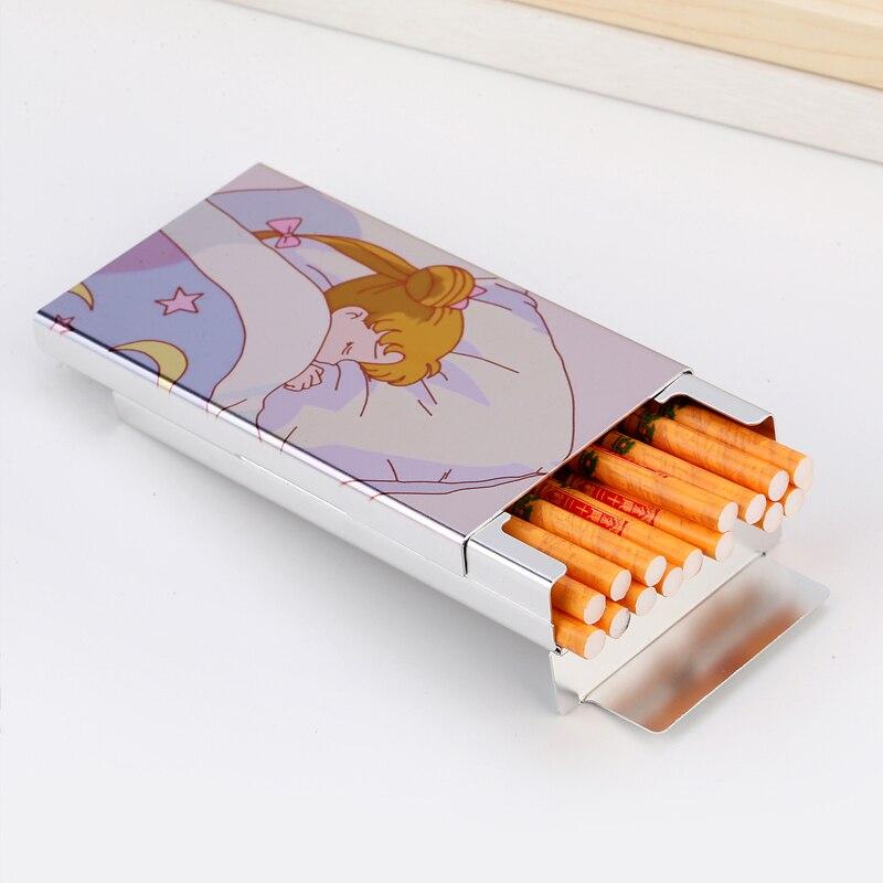 Slim Cigarette Case Box For Women Metal Smoking Gift Sliding Cute Creative Designs Digital Printing LOGO Photo Custum Made DIY