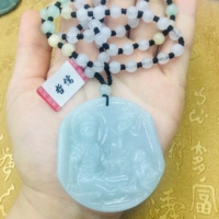 Natural JADESt Pendant Carved Large Guanyin Pendant with Tri Color Bead Necklace Elegant Ms. Clavicle Chain