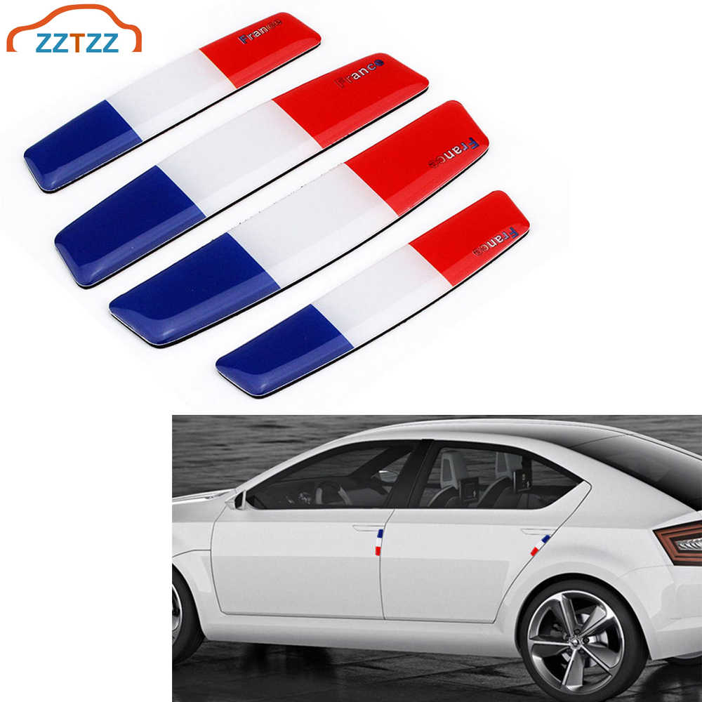 4 Buah/Set France Flag Mobil Pintu Edge Guard Strip Awal Protector Anti-Tabrakan Trim Pintu Edge Guard Stiker