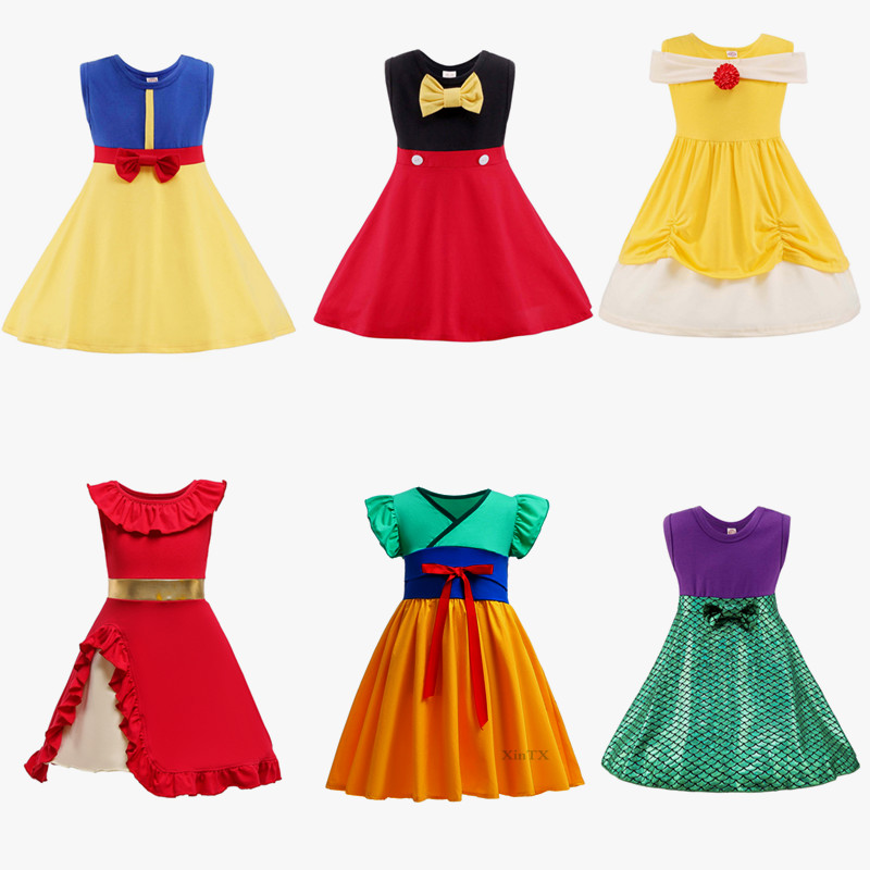 Fancy Baby Girls Clothing Snow White Princess Dress Bell Jasmine Elena Princess Mulan Merida Birthday Dresses Party Dresses