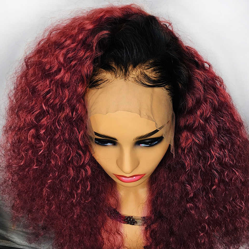 13*4 kręcone Ombre T1B/99J kolor koronki przodu włosów ludzkich peruk dla czarnych kobiet brazylijski peruka z włosów typu remy wstępnie oskubane bielone węzłów