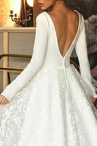 Image 4 - Đầm Váy Cưới Voan Một Dòng Gợi Cảm Cổ V Sâu Cưới Cô Dâu Áo Choàng Dài Hở Lưng Holow Đảng Đầm Cô Dâu Đầm Vestido de Novia