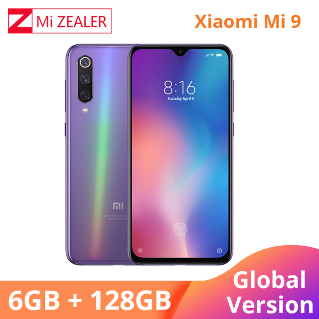 Global Versie Xiao mi mi 9 mi 9 mobiele telefoon 6.39 Inch 6 gb ram 128GB ROM snapdragon 855 octa Core 48MP + 16MP Triple Camera Xio mi