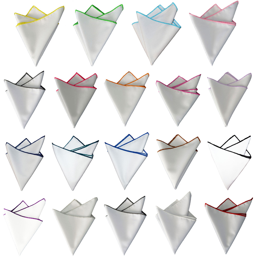 Mens Colorful Rolled Edge Handkerchief White Hanky Party Formal Pocket Square