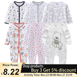 0-12Months Baby Rompers Newborn Girls&Boys 100%Cotton Clothes of Long Sheeve 1/2/3Piece Infant Clothing Pajamas Overalls Cheap