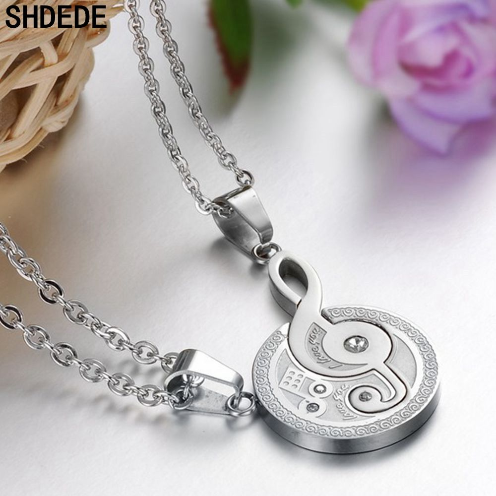 SHDEDE Stainless Steel Puzzle Music Note Pendant Necklace For Men Women Lovers Couple Jewelry Gift Cubic Zirconia +O823