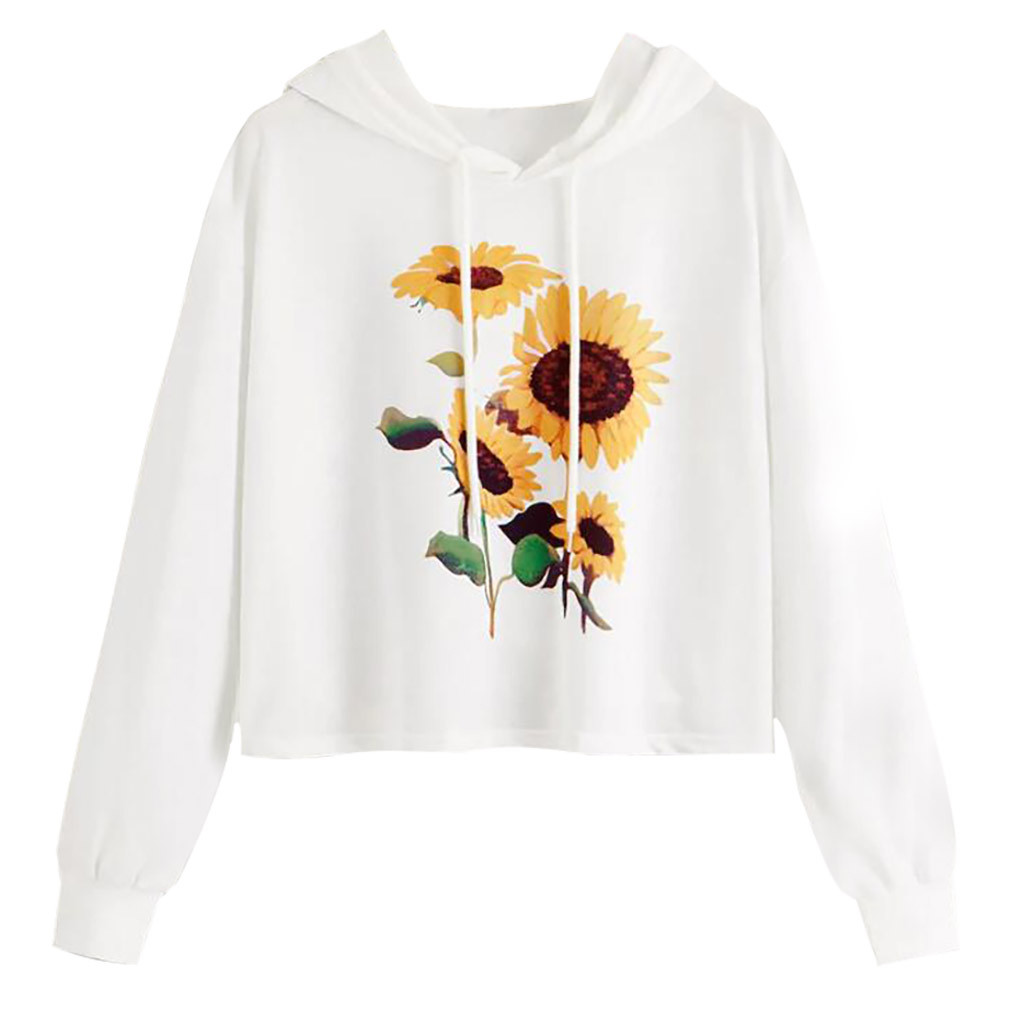 Jaycosin Fashion Leisure Long Sleeves Sunflower Print Hooded Pullovers Tops Loose Casual Women's Hooded Sweatshirt Tops 109#10