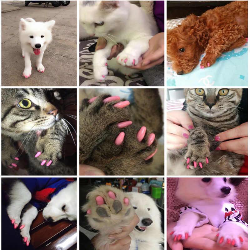20 pcs 개 고양이 네일 캡 소프트 실리콘 안티 스크래치 발톱 네일 커버 보호 장치 강아지 반려동물 발톱 손질 매니큐어 개 고양이 손톱 관리