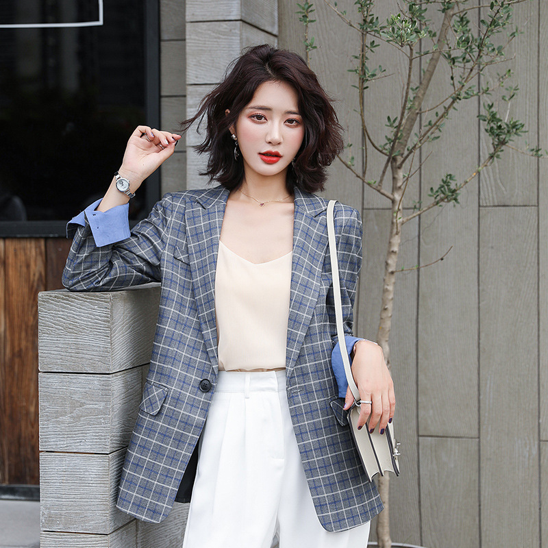 High-quality fabric women's jackets feminine 2020 Korean version of the new casual slim ladies plaid blazer Female Small suit