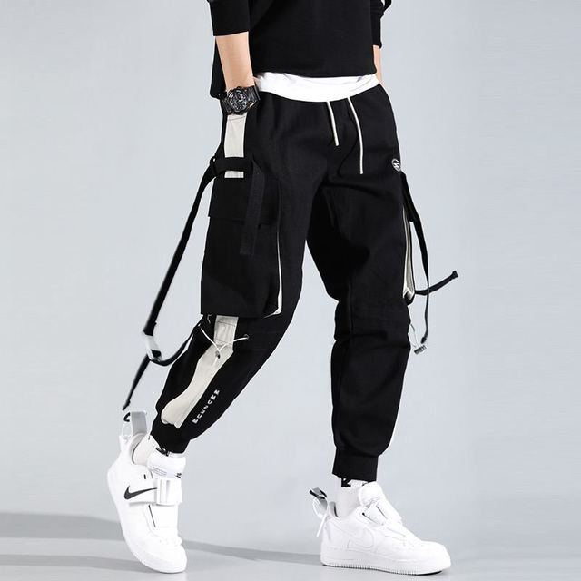 2021Hip Hop Joggers Mens Black Harem Pants Multi Pocket Ribbons Mens Sports Pants Streetwear Cargo Pants Men Japanese Streetwear 5