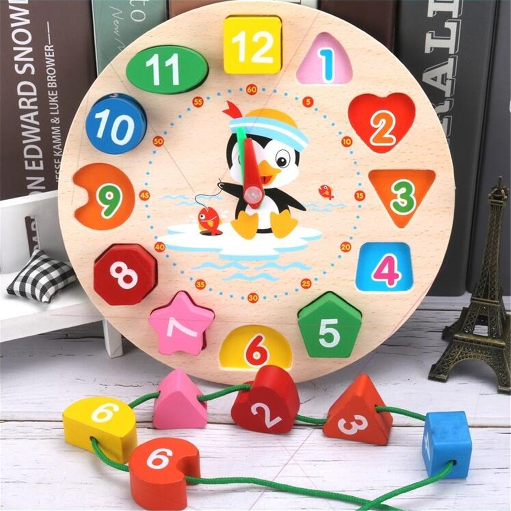 Montessori Cartoon Animal Educational Wooden Beaded Geometry Digital Clock Puzzles Gadgets Matching Clock Toy For Children(China)
