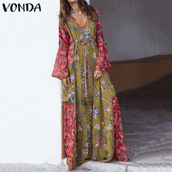 Vintage Printed Long Sleeve Woman Dress  -  Summer Sexy V Neck - Casual Loose Bohemian Sundress - Plus Size Vestidos S-5XL 1