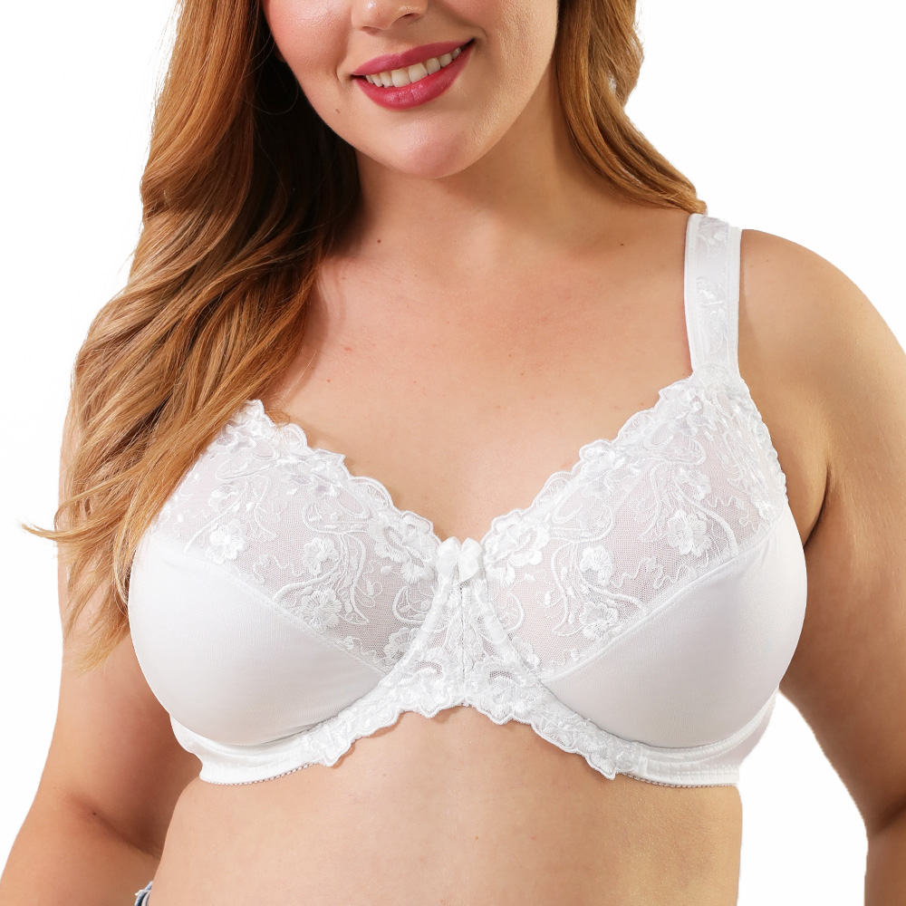 Бюстгальтер Minimizer размера плюс Для женщин полный охват с подкладкой на косточках белое кружевное платье с цветочным рисунком Большой Бюстг...
