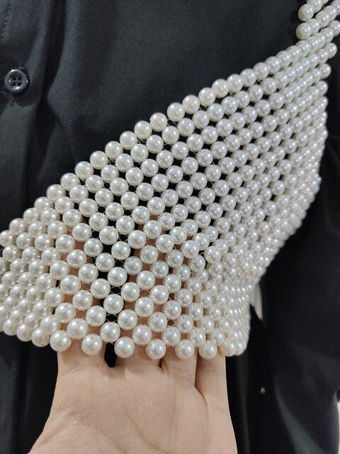 [BXX] Handmade Pearls Vest Women Tops 2021 Luxury Brand Designer New For Women Beading Vests Sleeveless Hollow Out Shirts HI451 4