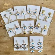 2020 Street Style Auge Ohrring Zubehör Mode Gold Farbe Geometrische Schleife Perle Emaille Evil Eye Erklärung Ohrringe Für Frauen