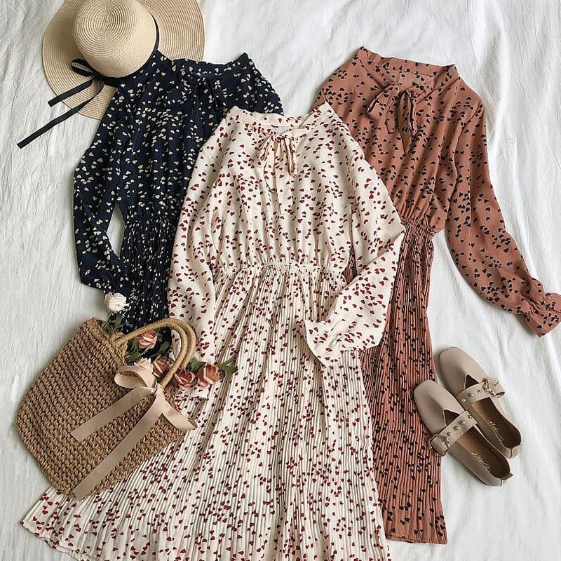 Spring Autumn Women Sweet Pleated Dress Elastic Waist Long Sleeve Floral Print Chiffon Dress Fashion Casual Knee-length Dresses