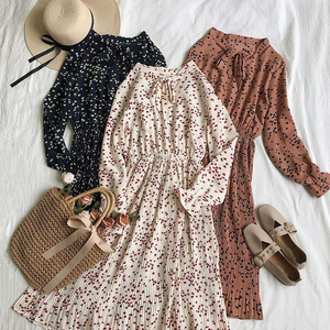 Spring autumn women sweet Pleated dress elastic waist long sleeve floral print chiffon dress fashion casual Knee-length dresses
