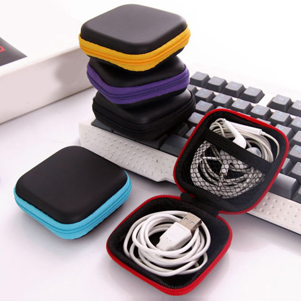 Portable Mini Square EVA Case Headset Bluetooth Earphone Cable Accessory Storage Box Case Carrying Pouch Bag SD Card Holder