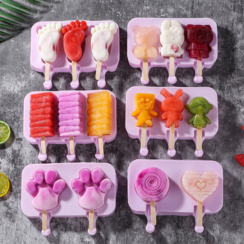 Cute DIY Ice Cream Mold with Lip and 50 pcs Wood Sticks Food Grade Silicone Ice Candy Popsicle Mold for Kitchen Supplies