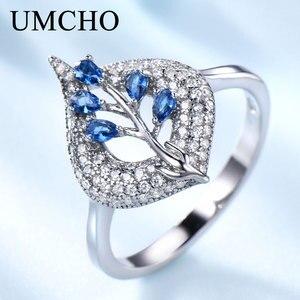 Image 1 - UMCHO S925 Sterling Silber Ringe für Frauen Nano Sapphire Ring Edelstein Aquamarin Kissen Romantische Geschenk Engagement Schmuck