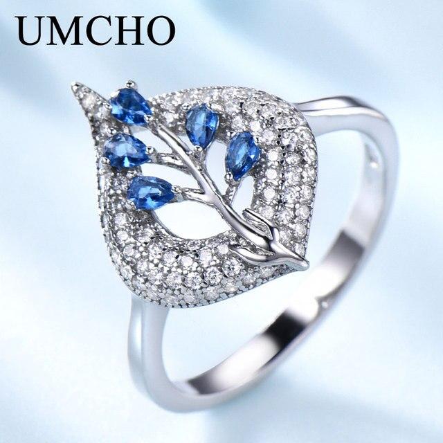 UMCHO S925 Sterling Silber Ringe für Frauen Nano Sapphire Ring Edelstein Aquamarin Kissen Romantische Geschenk Engagement Schmuck