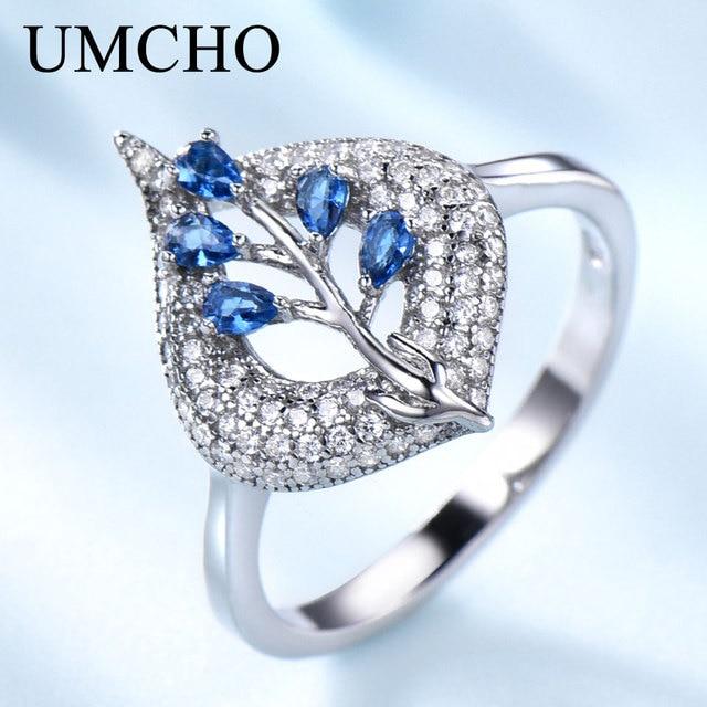 UMCHO  S925 Sterling Silver Rings for Women Nano Sapphire Ring Gemstone Aquamarine Cushion  Romantic Gift Engagement Jewelry