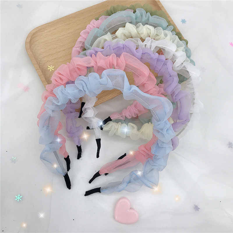 Female Lace Hairband Spring And Summer Color Fantasy Chiffon Headband Mesh Yarn Folds Small Fresh Hairbands Hair Accessories
