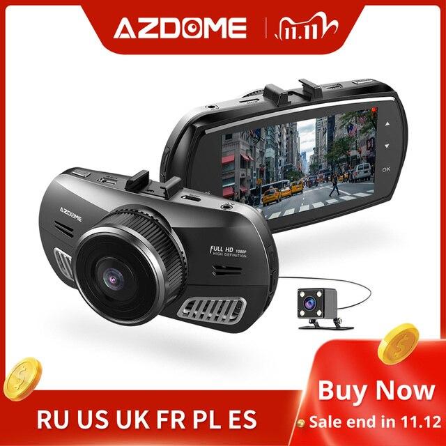 Azdomm11 3 بوصة 2.5D IPS شاشة اندفاعة كام مسجل سيارة DVR HD 1080P سيارة بعدسة مزدوجة فيديو داشكام للرؤية الليلية كاميرا تحديد المواقع داش