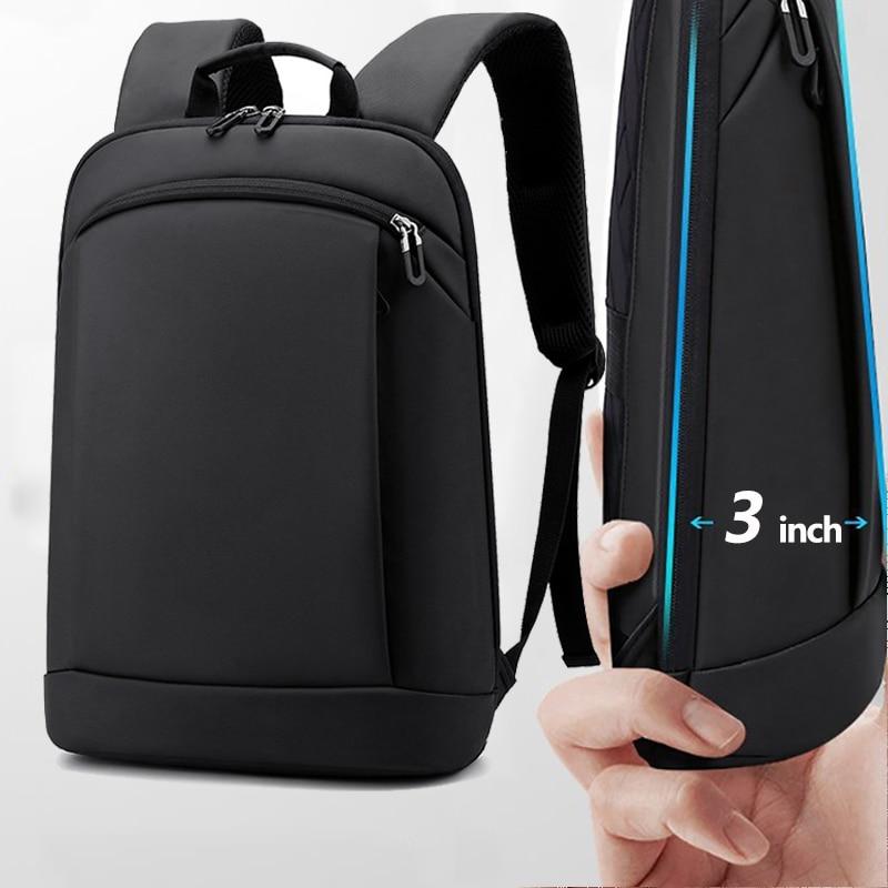 IKE MARTI mince sac à dos pour ordinateur portable hommes sac 15.6 pouces bureau travail femmes sacs à dos sac d'affaires unisexe noir sac à dos mince sac à dos