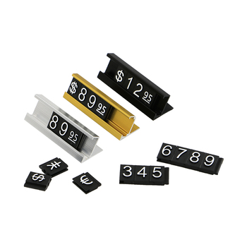 Golden Adjustable Number Letter Base Price Display Counter Stand Label Metal Ground Arabic Numbers Combined Price Tag Cube Stick