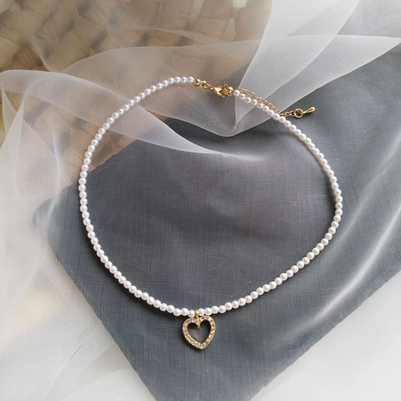 Sweet Jewelry Necklace Simple Design Small Simulated Pearls Bracelet With Delicate Heart Pendant Necklace Women Jewelry Gifts