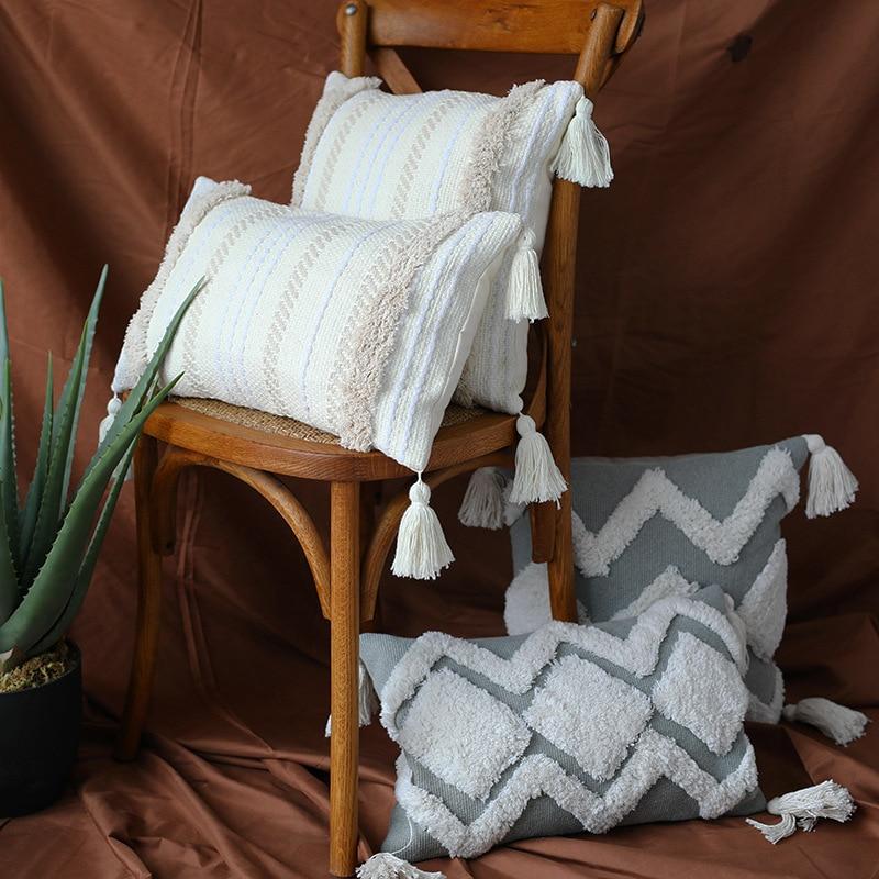 45x45cm Cojines Decorativos Para Sofa Morocco Geometric Black And White Tufted Tassel Pillowcase Christmas Pillow Case