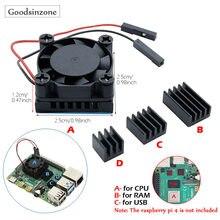 Raspberry pi 4 modelo b diy cpu ventilador de refrigeração com base de alumínio do dissipador calor + ram dissipadores de calor conjunto kit para raspberry pi 4 pi4