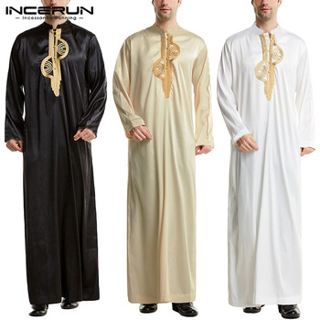 Men Loose Patchwork Muslim Kaftan Robes Islamic Clothing Vintage Long Robes Leisure Long Sleeve Stand Collar Jubba Thobe INCERUN