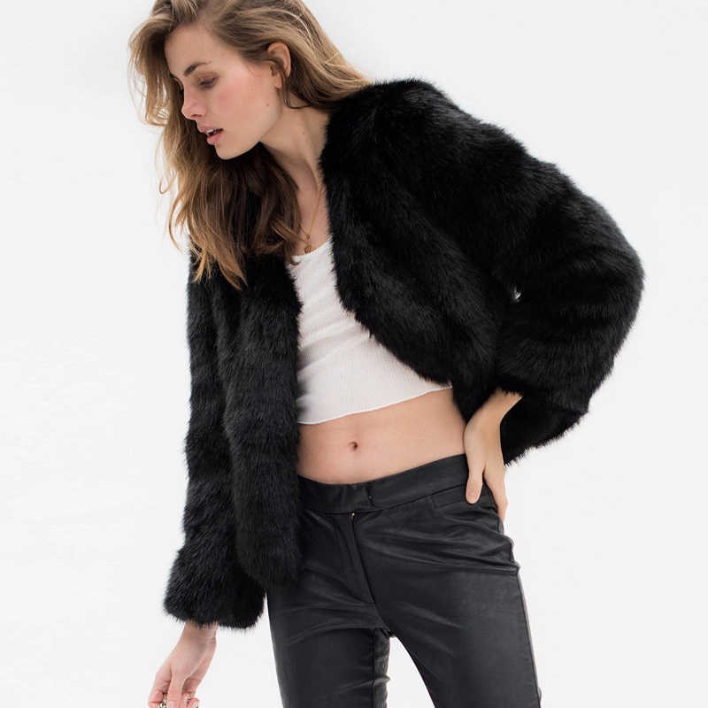 Tataria S-4XL 毛皮のようなファーコート女性長袖プラスサイズふわふわ暖かいオーバーコート女性の冬の厚手のコート女性ぬいぐるみジャケット