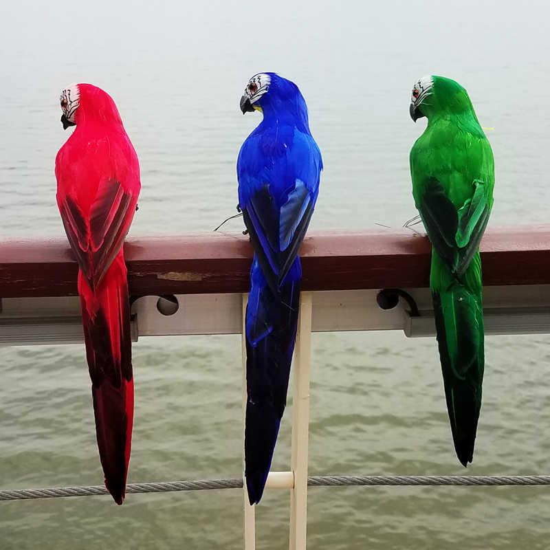 25cm 시뮬레이션 앵무새 크리 에이 티브 수제 거품 깃털 잉 꼬 잔디 입상 장식 가짜 동물 조류 정원 장식 장식