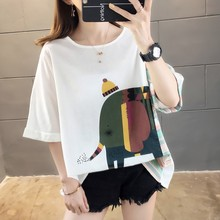 цена на 2019 Women Striped & Elephant Print Summer O-Neck T-Shirt Casual Loose Half Sleeve Long Clothing Fashion Female Tops Tee
