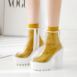 Image 2 - COWCOM bottes transparentes pour femmes, chaussures transparentes, talon épais, talons hauts et ronds étanches, semelle blanche, DF jz750 1
