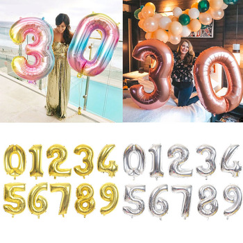 16/32/40 inch Number Foil Balloon Large Rainbow Rose Gold Silver Digital Balloons birthday party decor kids Baby Shower Supplies image