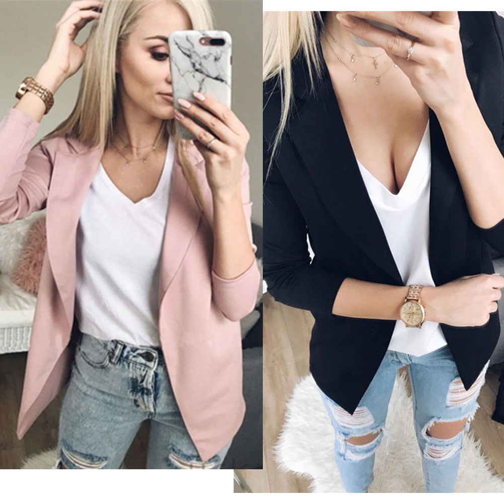 Suit Coat Outwear Jacket Business-Blazer Long-Sleeve Pink Black Casual Women Fashion
