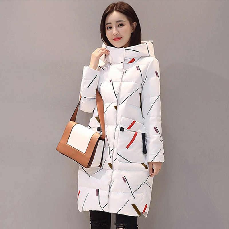 Zarif uzun kollu sıcak fermuar Parkas kadın ceket ofis bayan 2019 yeni moda kış kapşonlu uzun ceket ceket