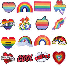 Lgbt Rainbow Patches Voor Kleding Ijzer Op Geborduurde Patches Voor Kid Kleding Stickers Op Applicaties Diy T-shirt Badges(China)
