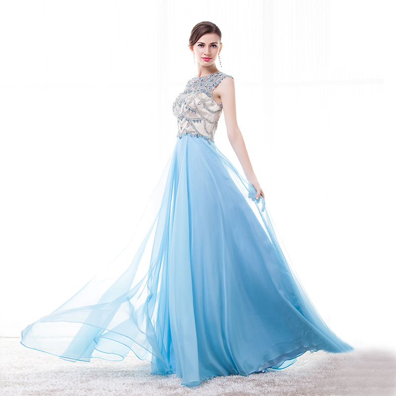 Sexy Sky Blue Cocktail Dress Long Luxury Beading Prom Party Dresses Gala Gowns Plus Size Elegant Occasion Dresses For Women 2020
