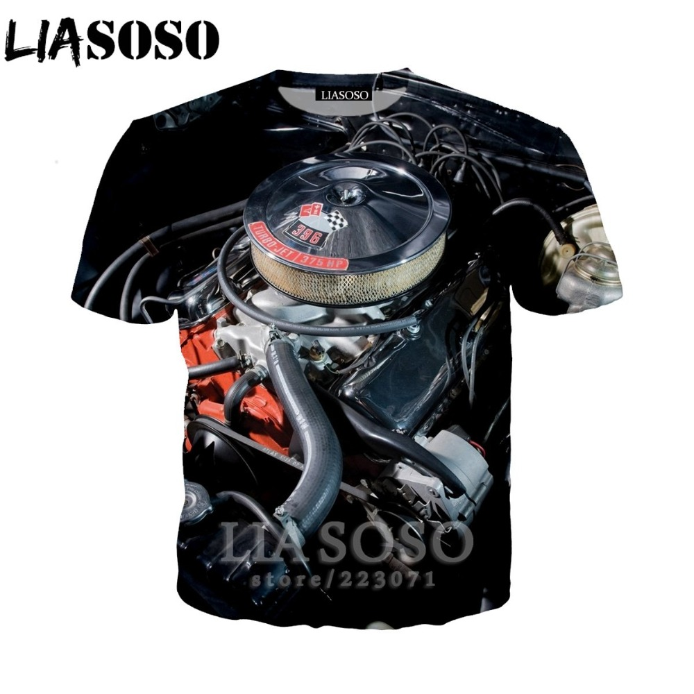 LIASOSO Women Sweatshirt 3D Print Engine T Shirt Car Parts Men`s T-shirts Machinery Men Cartoon Tshirt Harajuku Beach Tees D013-2 (19)