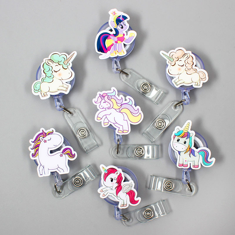 1 Pc Cute Acrylic Colorful Unicorns Retractable Badge Reel Nurse Doctor Student Exhibition ID Card Clips Badge Holder Stationery